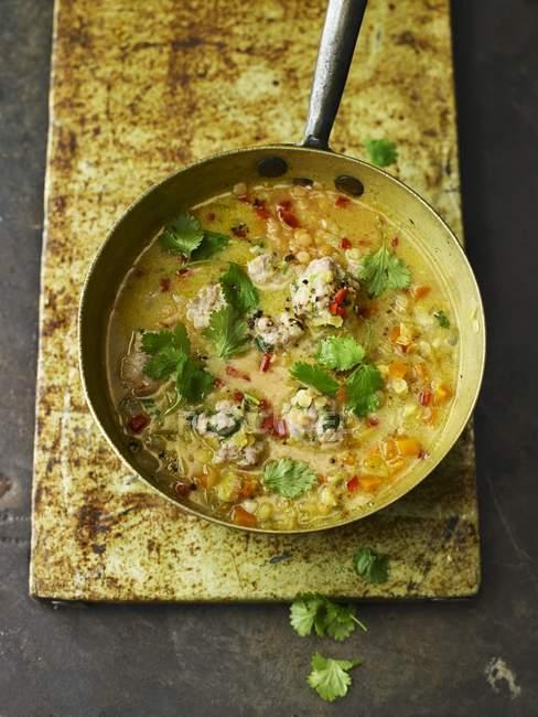 Würzige rote Linsensuppe, Kokos und Koriander-Suppe mit Huhn Knödel — Stockfoto