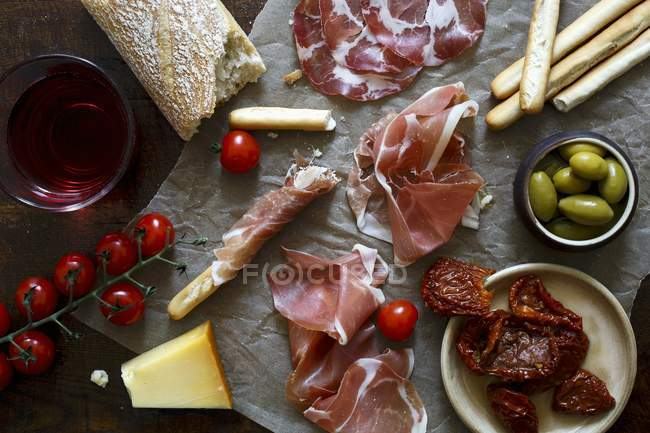 Italian antepasto spread — Stock Photo