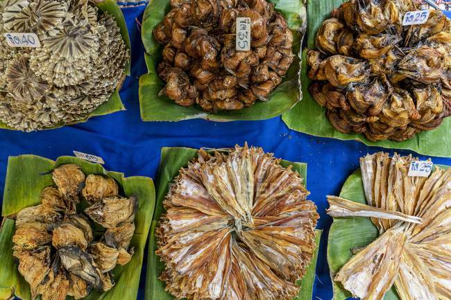 Vista superior de una selección de pescado con etiquetas de precios - foto de stock