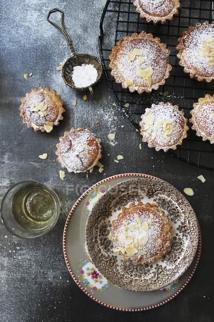 Миндальные пирожные с сахарной пудрой — стоковое фото