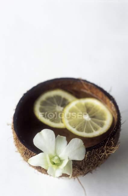 Vista de cerca de rodajas de limón y flor en un tazón - foto de stock