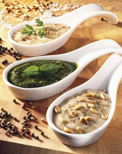 Sauce et sauce de champignons — Photo de stock