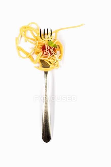 Italian spaghetti pasta on fork — Stock Photo