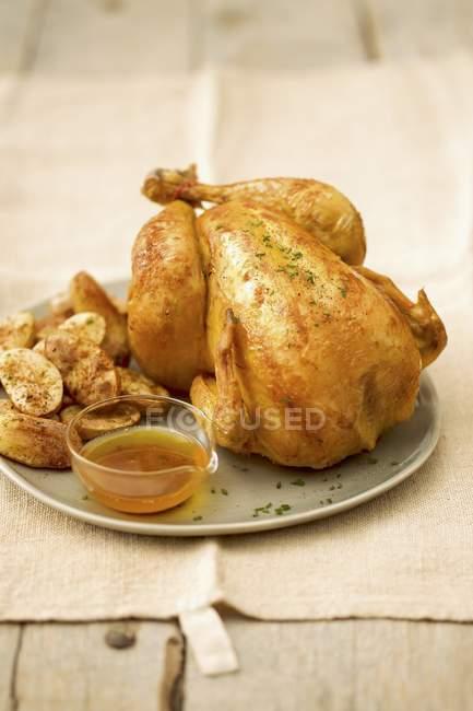 Pollo asado con patatas y salsa - foto de stock