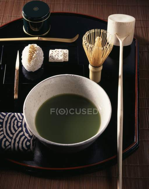 Elevated view of Japanese matcha tea with accessories — Stock Photo