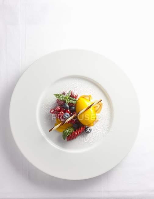 Sorbet à la mangue avec des baies — Photo de stock