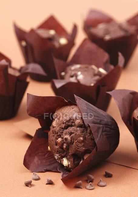 Muffins au chocolat doubles — Photo de stock