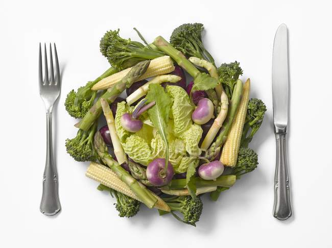 Composition with vegetables on white — Stock Photo
