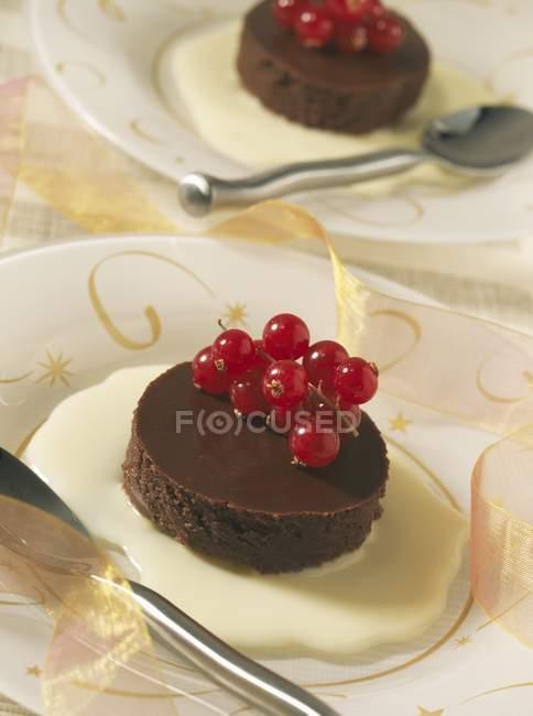 Marquise al cioccolato con crema pasticcera — Foto stock