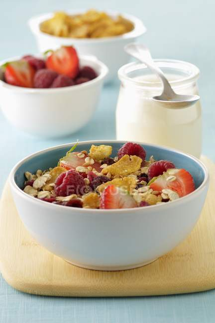 Muesli with summer fruits — Stock Photo