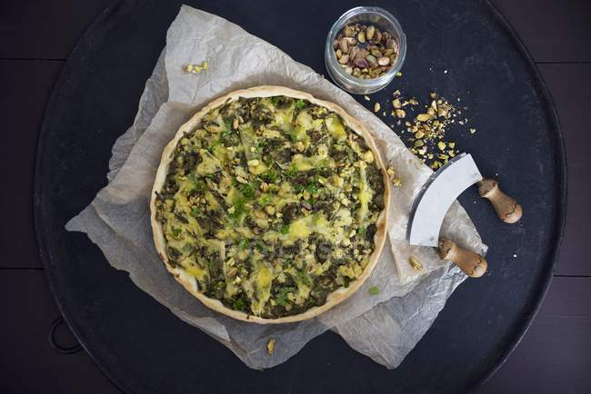 Veganer Spinat und Quiche — Stockfoto