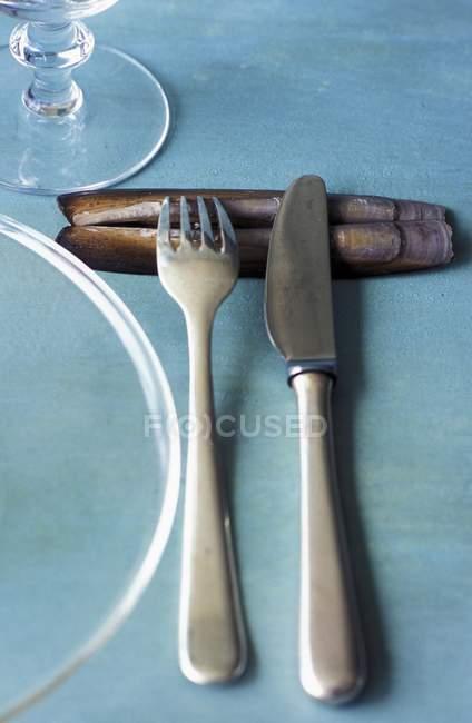 Vista close-up de faca e garfo em amêijoas de barbear — Fotografia de Stock