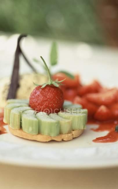 Небольшой ревеневый и клубничный пирог — стоковое фото