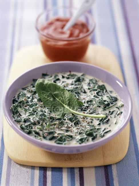 Шпинат с суп из йогурта и паприка — стоковое фото