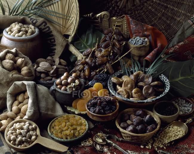 Closeup view of dried fruit selection with nuts — Stock Photo