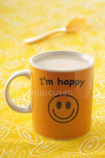 I'm happy mug of milk — Stock Photo