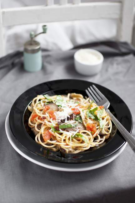 Spaghetti alla Norma — Photo de stock
