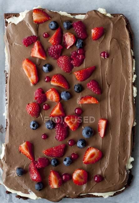 Sommerbeeren auf Schokoladenmoussekuchen — Stockfoto