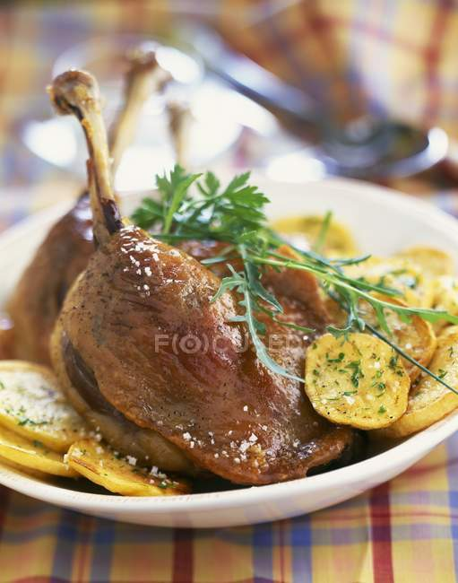 Duck conserve with potatoes — Stock Photo