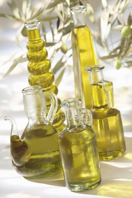 Bottles of olive oil — Stock Photo