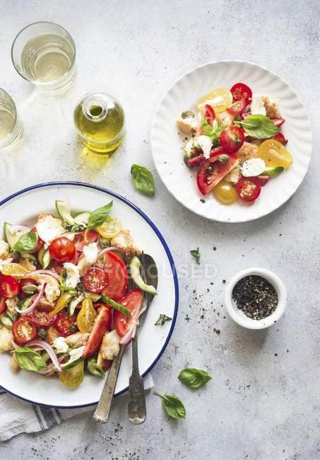 Panzanella auf weißen Tellern — Stockfoto