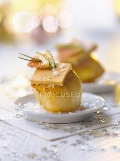 Capesante e foie gras — Foto stock