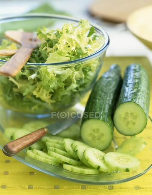 Cucumber and frizzy lettuce — Stock Photo
