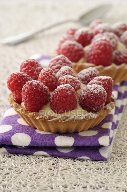 Homemade Raspberry tartlets — Stock Photo
