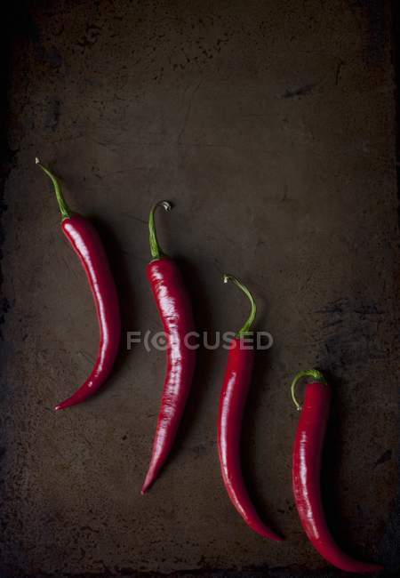 Red chillies on a metal tray — Stock Photo