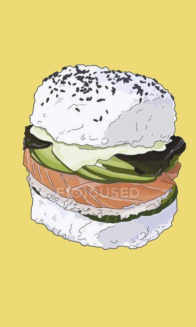 Sushi burger, colorful Illustration on yellow background — Stock Photo