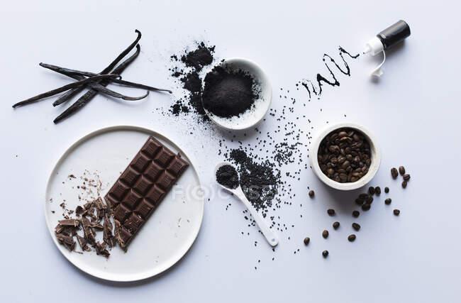 Інгредієнти для чорної їжі — стокове фото