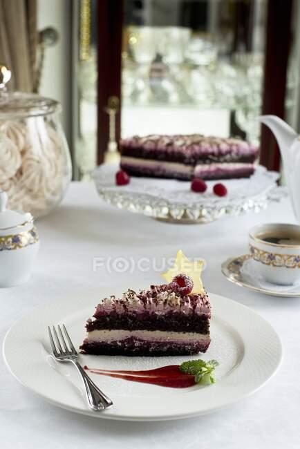 Plan rapproché de délicieux gâteau au chocolat et framboise festif — Photo de stock
