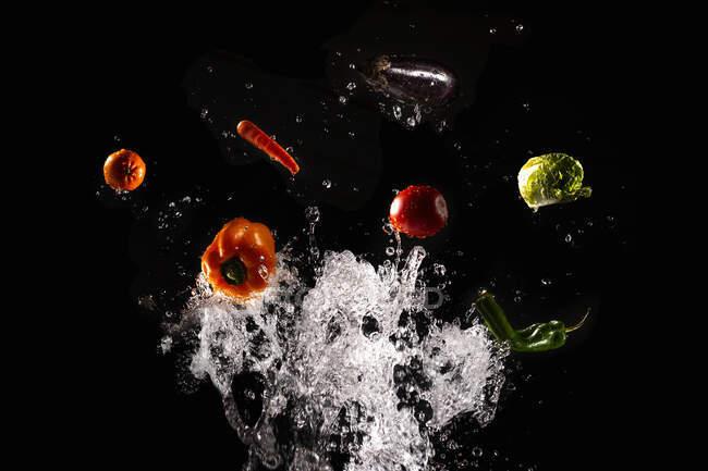 Vitalizzando verdure mature e insalata in chiari spruzzi d'acqua su sfondo nero — Foto stock
