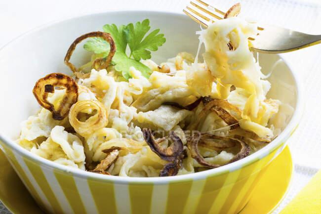 Spaetzle de queso (fideos caseros) con cebolla frita - foto de stock
