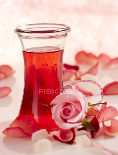 Домашний ликер с лепестками роз — стоковое фото