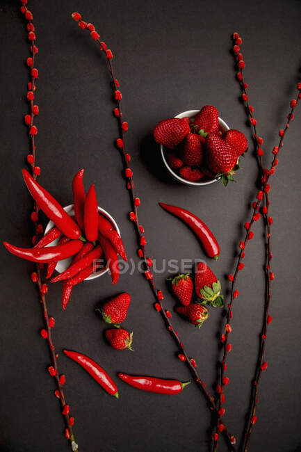 Red fabric and twigs with bright buds placed on black background near hot chili peppers and sweet ripe strawberries — Stock Photo