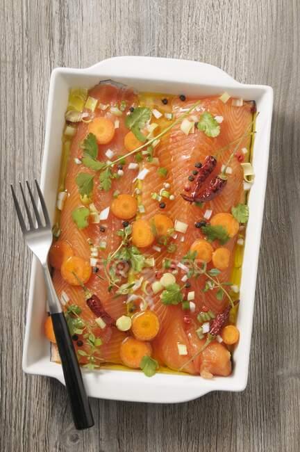 Філети лосося в кориандр і лимонних маранадах. — стокове фото