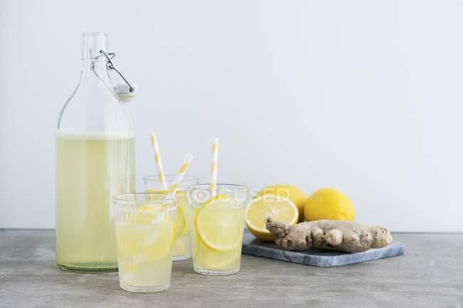 Lemon Ginger Lemonade close-up view - foto de stock