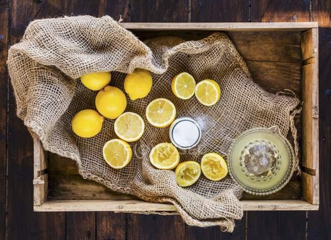 Exprimir limones frescos con azúcar - foto de stock