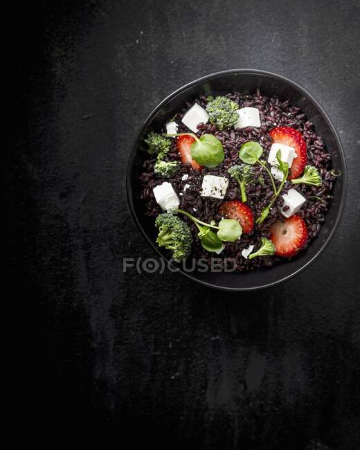 Portion of black rice salad, top view — Stock Photo