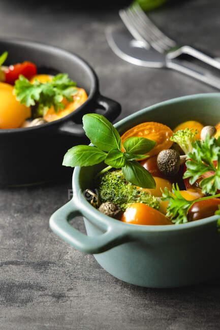 Салат зі смаком овочів з помідорами та грибами, прикрашеним зеленим базилем та розмарильними вересовищами. — стокове фото