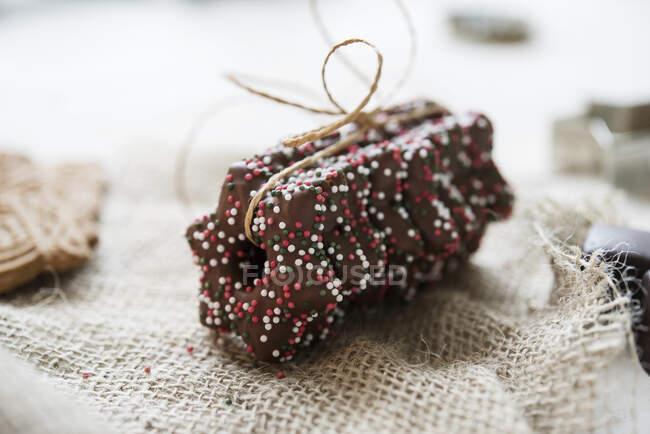 Звезды Lebkuchen с темной шоколадной глазурью — стоковое фото