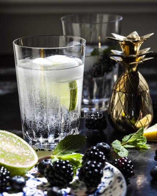 Blackberry menta y vodka soda cóctel con piña en forma de coctelera - foto de stock