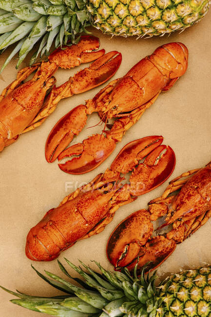 Lobsters with shells and claws near whole fresh pineapples — Stock Photo