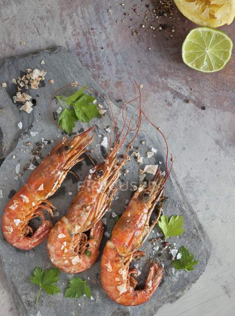 Prawns with sea salt and parsley — Stock Photo