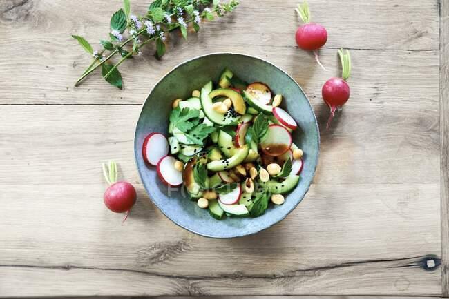 Ensalada de rábanos y pepino con menta sobre mesa de madera - foto de stock
