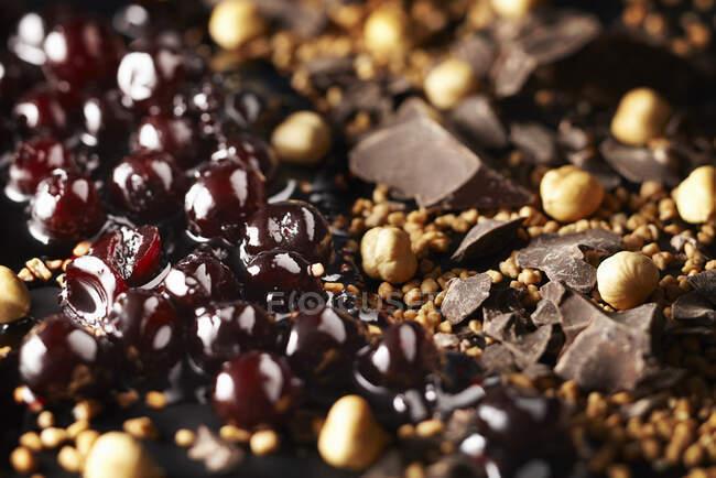 Вишні з Америки, шоколад, крихкі та газеленові горіхи. — стокове фото