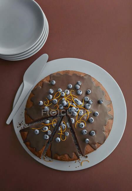 Gâteau au chocolat aux myrtilles et zeste d'orange — Photo de stock