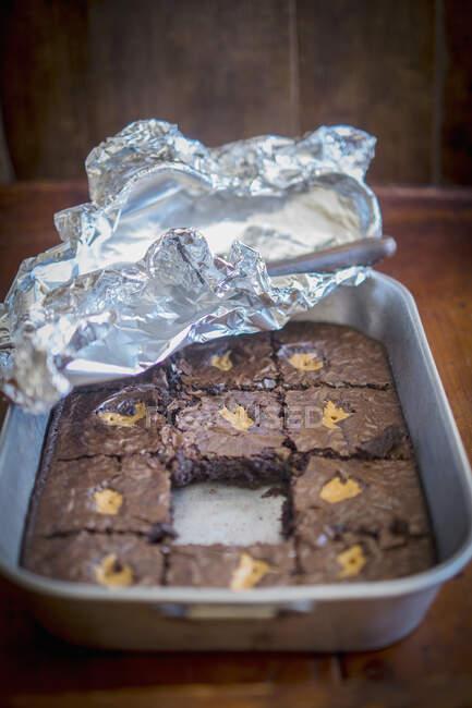 Brownies con vista de cerca de Mantequilla de Maní - foto de stock