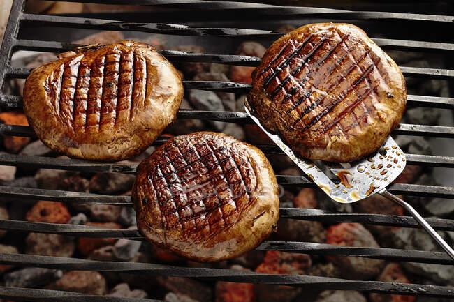 Grilled mushroom steaks with a honey balsamic glaze — Stock Photo